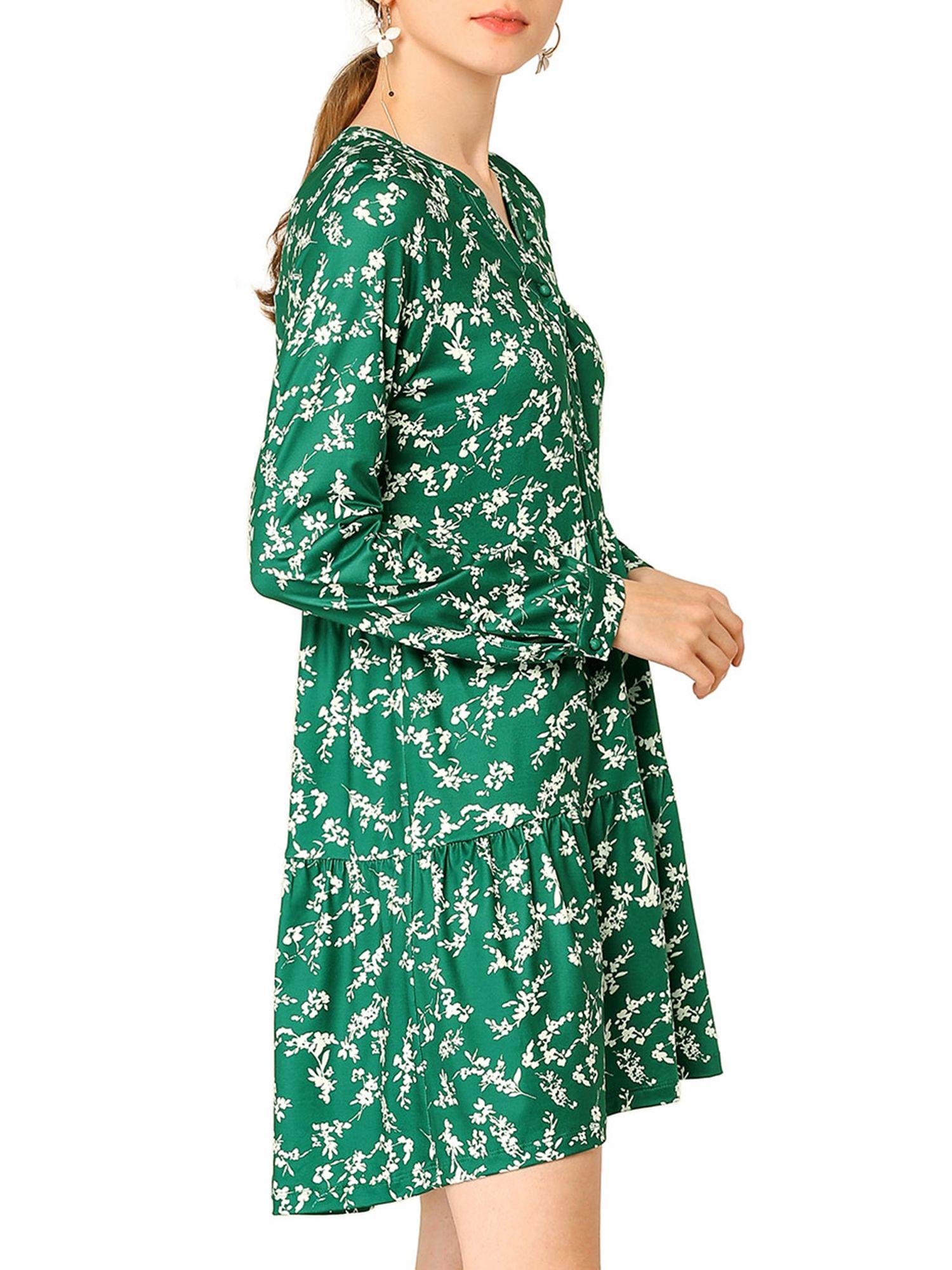 Unique Bargains Unique Bargains Women S Floral V Neck Cinched Waist Long Sleeve Dress Walmart Com Long Sleeve Dress Dresses Long Sleeve [ 2000 x 1500 Pixel ]