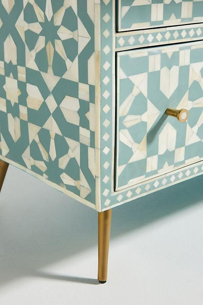 Moroccan Design Bone Inlay Chest of Drawers Bone I