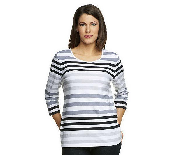 Denim Co Perfect Jersey 34 Sleeve Color Block Scoop Neck Top