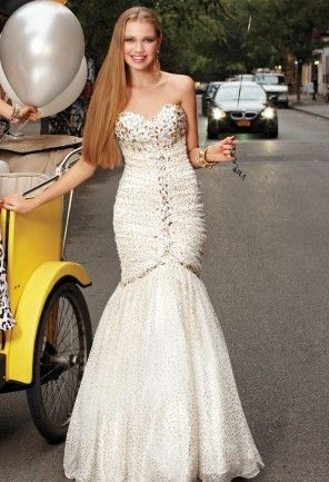 White Dresses - Strapless Glitter Tulle Mermaid Prom Dress from ...