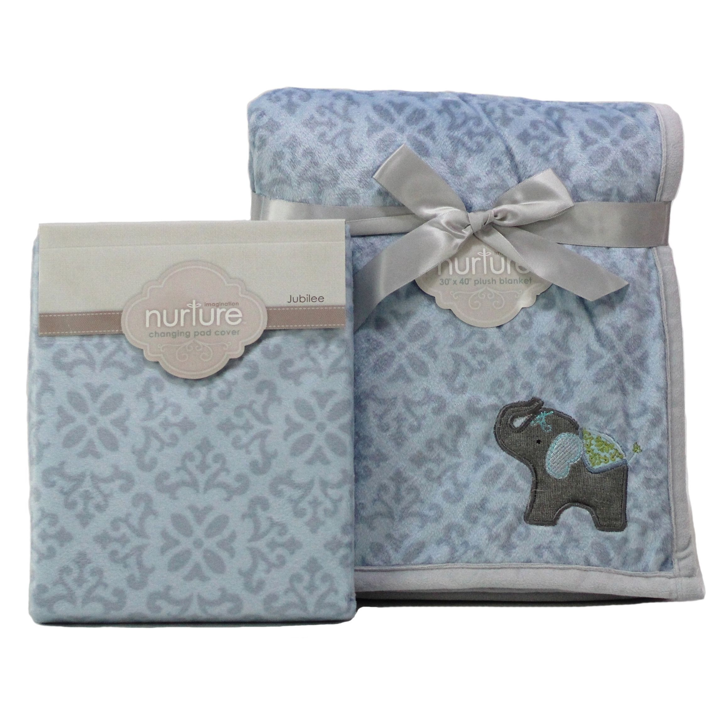 Nurture Elephant Jubilee Nursery Plush Blanket and Changing Pad Cover Set