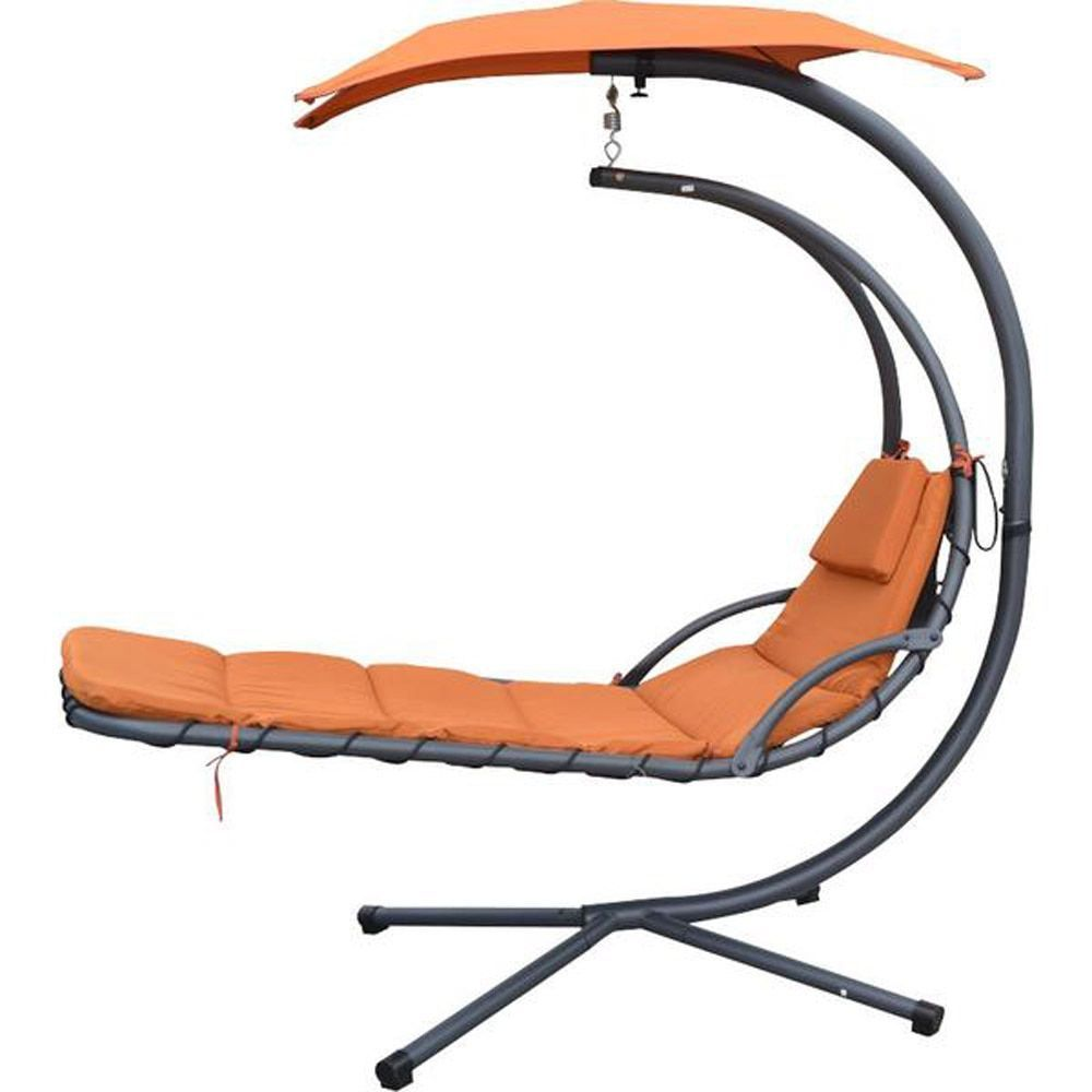 Mcombo hanging chaise lounger chair arc stand swing hammock swing