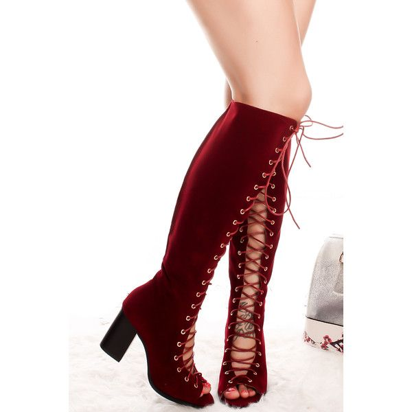 4d52b006057 Red faux suede knee high heel peep toe chunky lace up boot ( 20) ❤ liked on  Polyvore featuring shoes