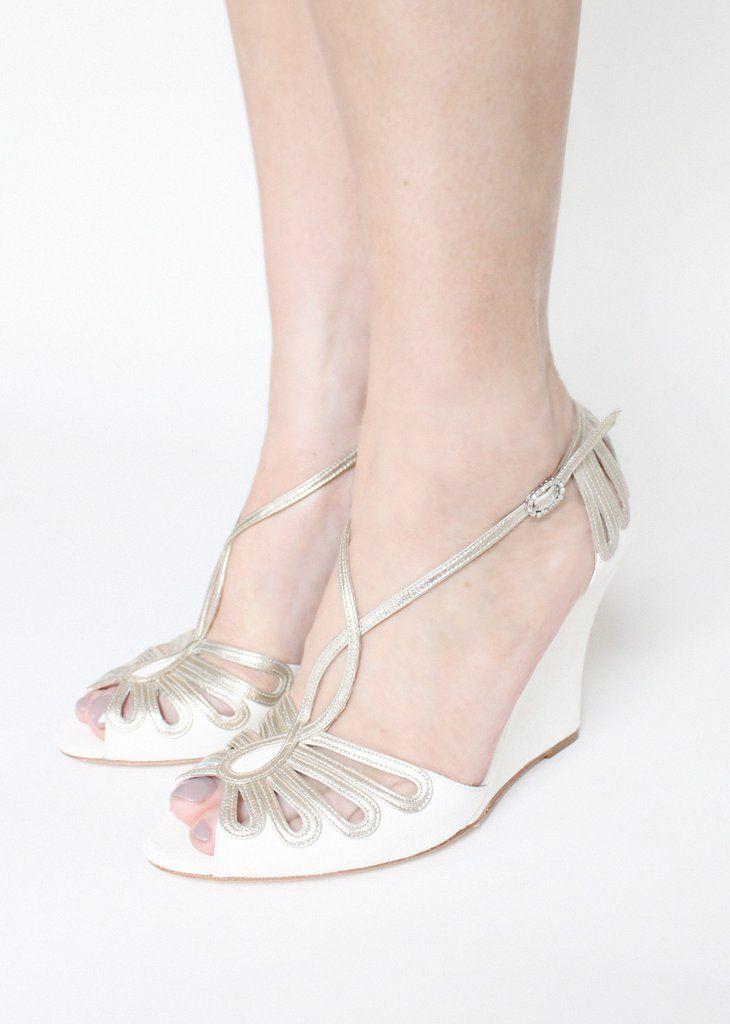 Leila Wedge Bridal SandalsBeautiful ShoesGold WeddingsWedding ShoesWedges Ivory