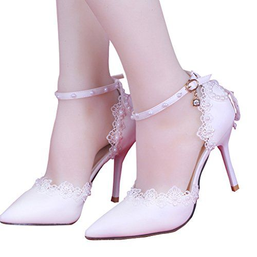 7dc4eb2edb17 CLOCOLOR Womens Pointed Toe High Heel Lace Pearls Ankle Strap Pumps Wedding  Shoes Size 8 White