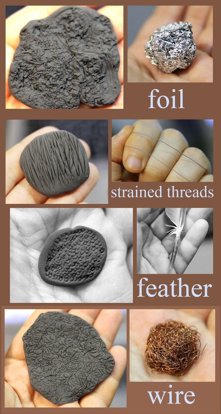 Einfache Texturen für Ton – Tutorial. Handgefertigte Figuren aus Ton, Fimo – 2019 – Clay ideas