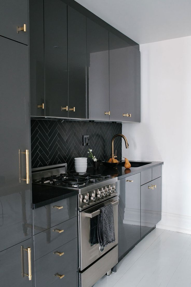Glossy Black Cabinets Bhdm Kitchen Design Small Contemporary Kitchen Black Kitchen Cabinets