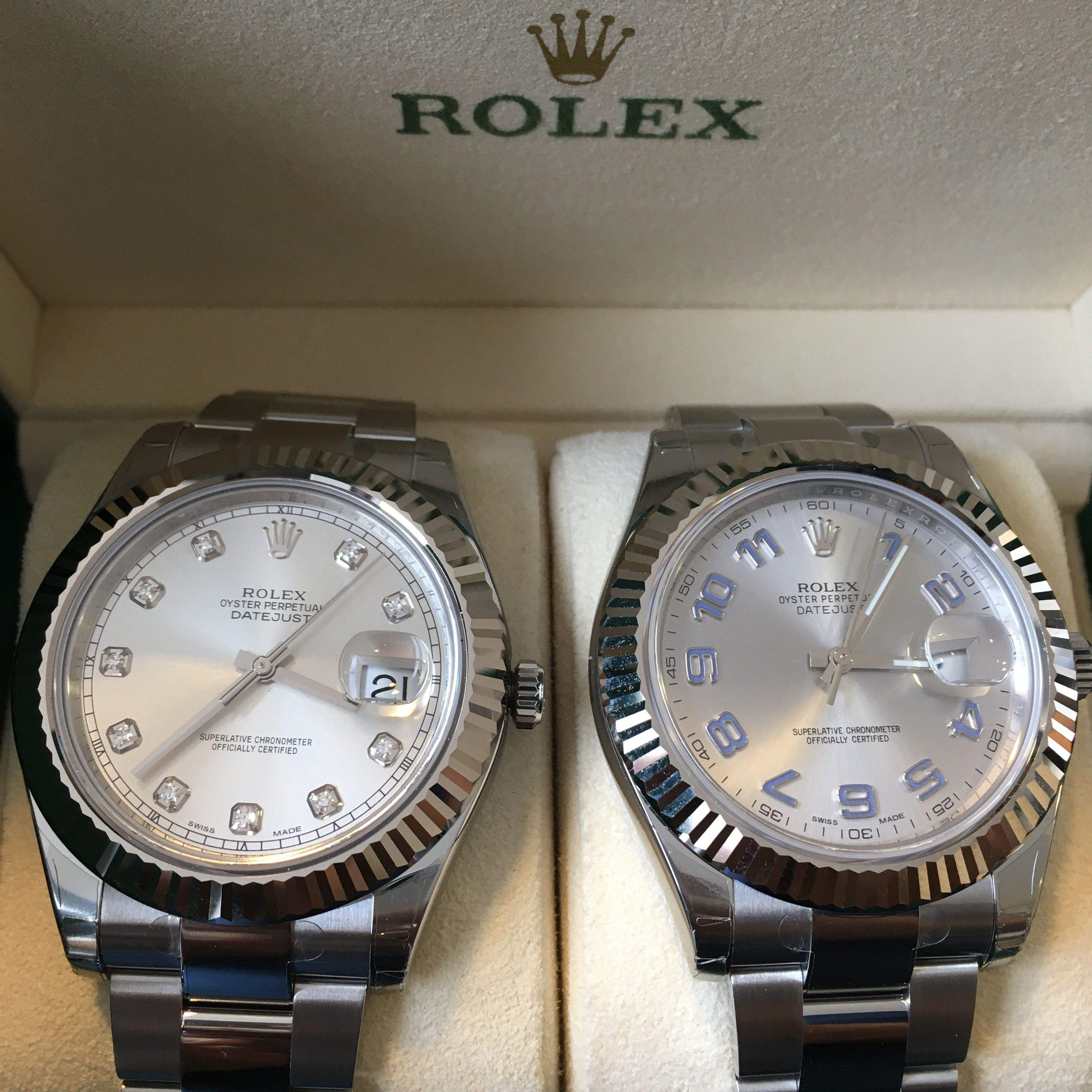 Fantastic collection of Datejust II's available. Here's a couple #DailyDuo With or without diamonds?