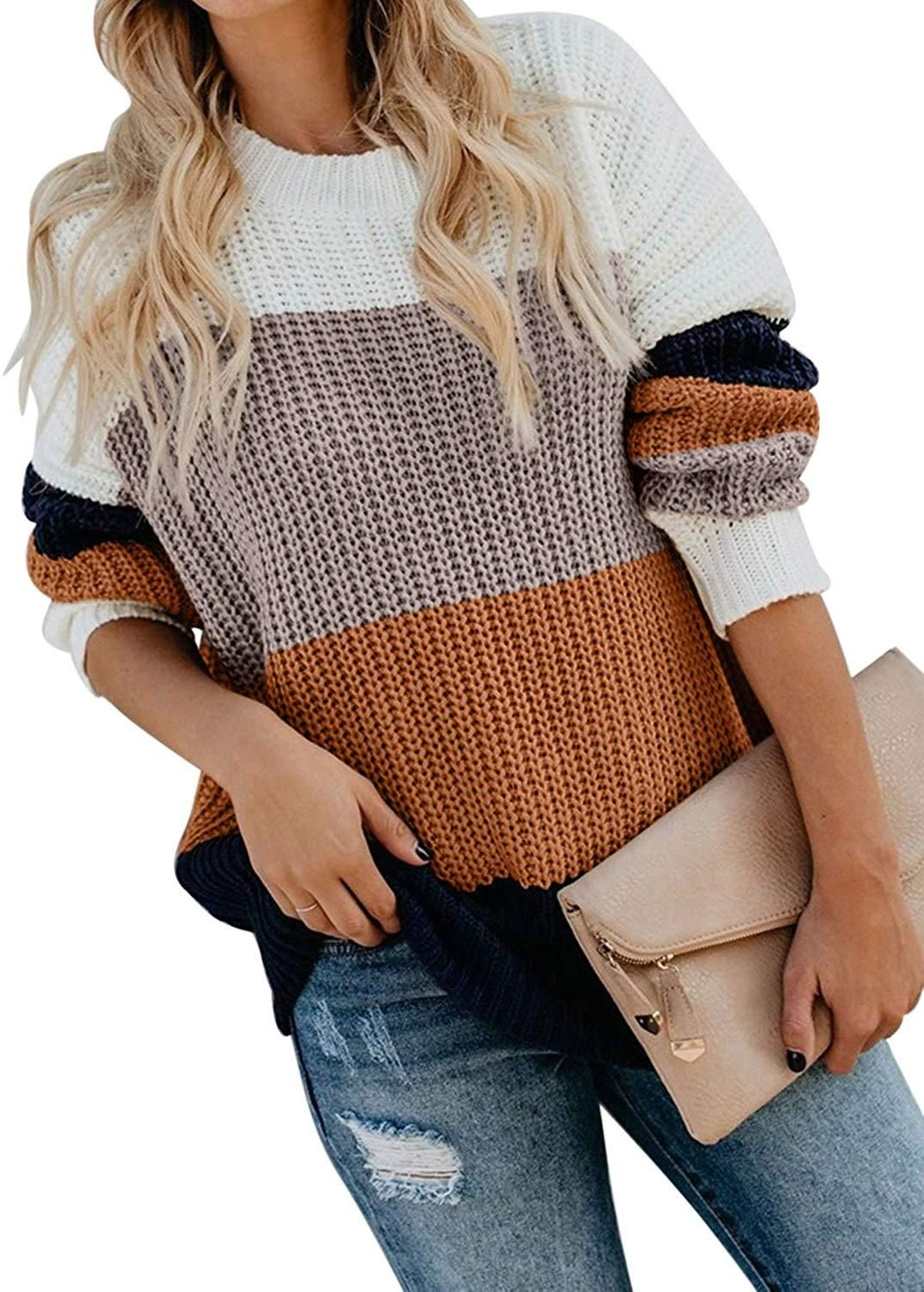 Sweaters for Women Oversized,Womens Long Sleeve Casual Crew Neck Striped Color Block Loose Knitted Pullover Sweater Tops