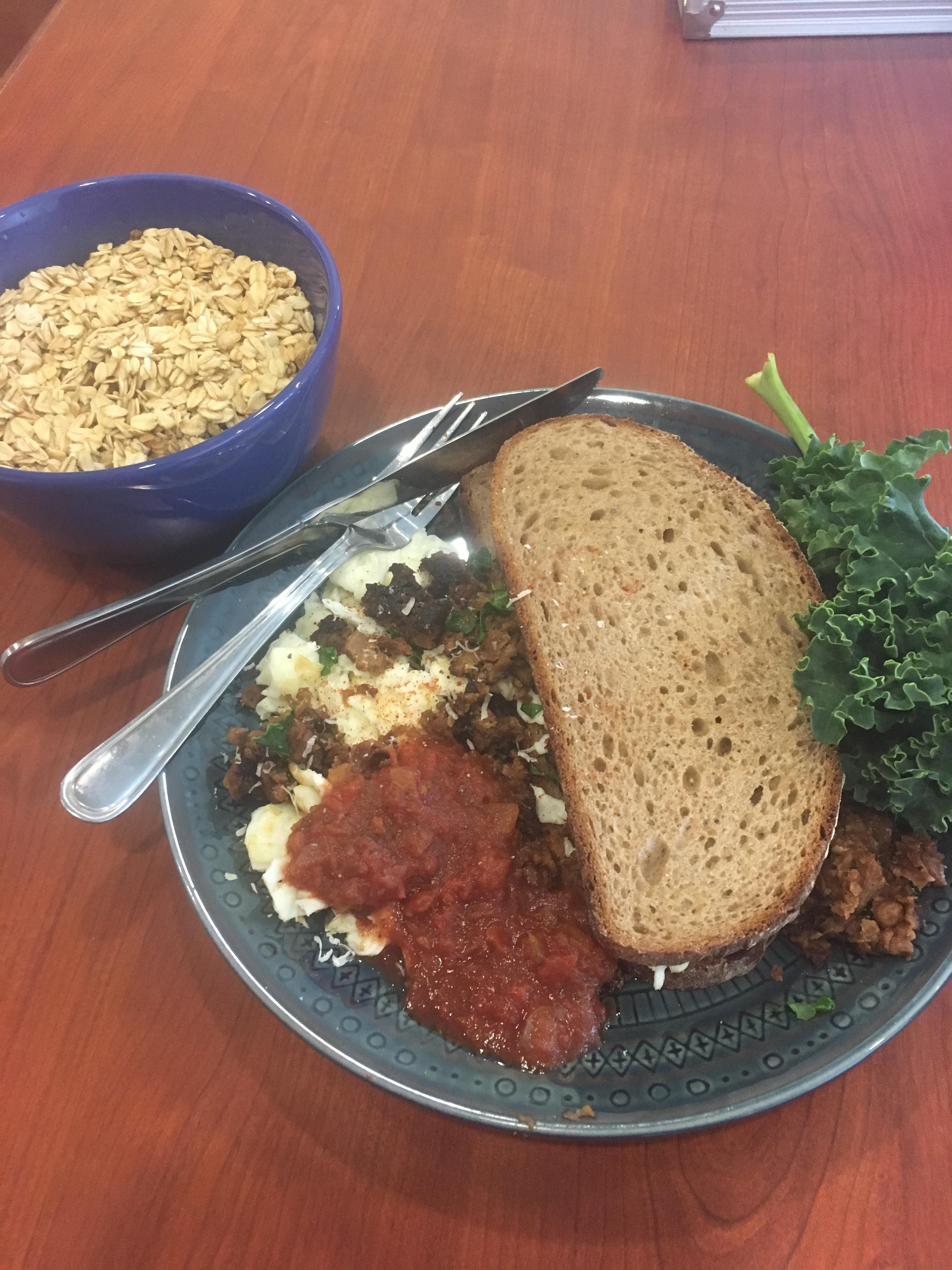 Homemade Egg White And Vegetarian Ground Beef Sandwich On German Farm Bread With Kale Salsa And Oatmeal Food Beef Sandwich Recipes