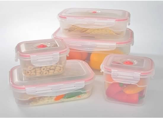11 Pcs Vacuum Food Storage Containers, Rectangular. Contains: 5 Stackable  And Re