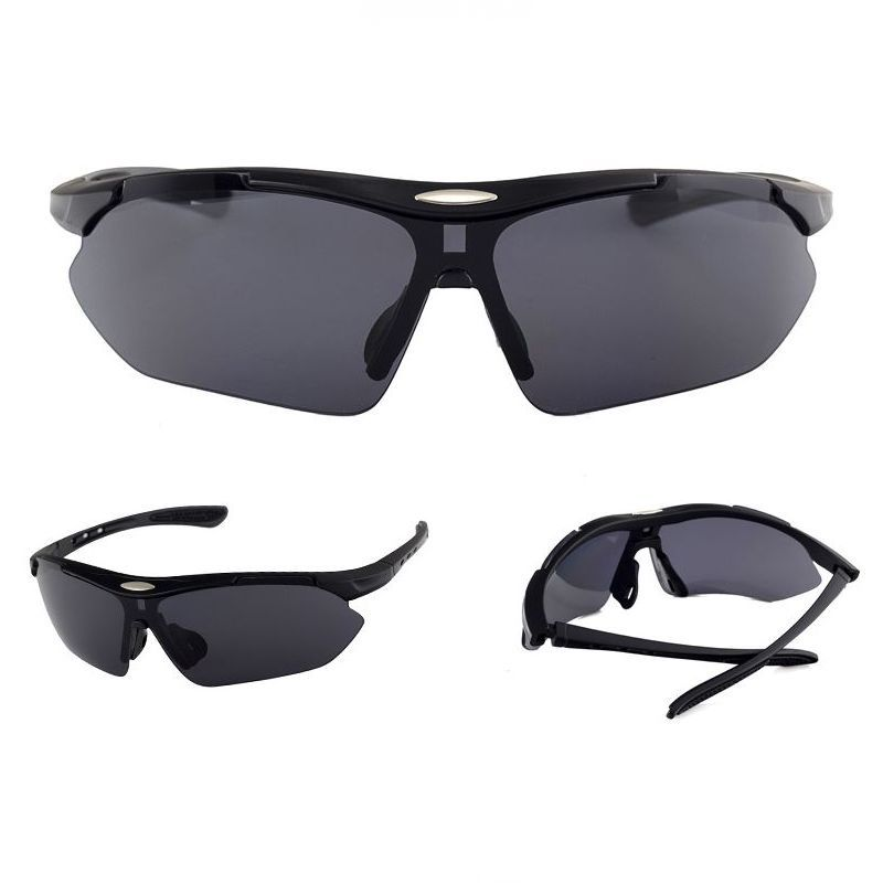 aa03563edf Cycling Sport Sunglasses Half-Rim Wrap Around Vented Frame Matte Black Gray