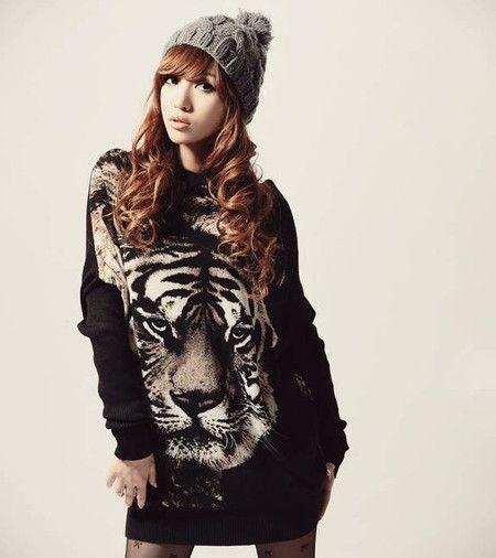 Blusão preto com estampa de tigre