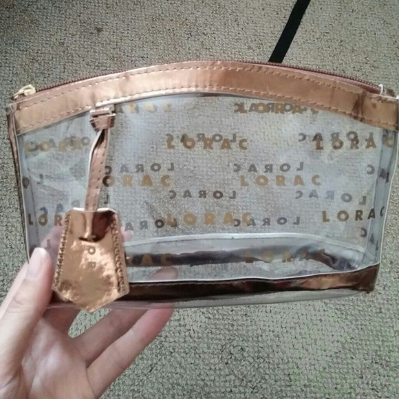 """SALE* Lorac Make-up Cosmetic Bag Bronze color, name logo throughout. Perfect for makeup and accessories. 8x5"""". Accessories"""