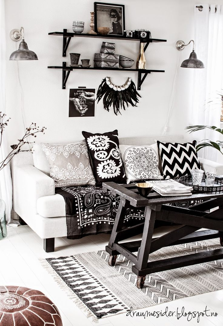 Best Black And White Bohemian Living Room Elements 1 Eclectic Furnishings Contem Boho Living 400 x 300