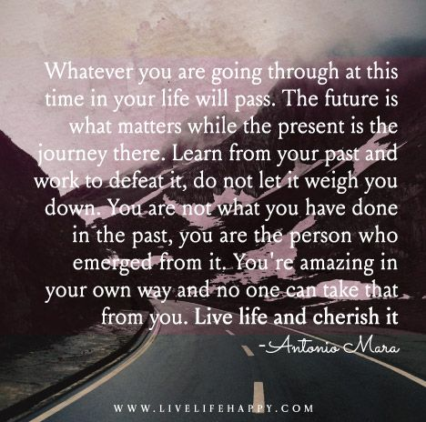 Whatever you are going through at this time in your life will pass. The future is what matters while the present is the journey there. Learn from your past and work to defeat it, do not let it weigh you down. You are not what you have done in the past, you are the person who emerged from it. You're amazing in your own way and no one can take that from you. Live life and cherish it.