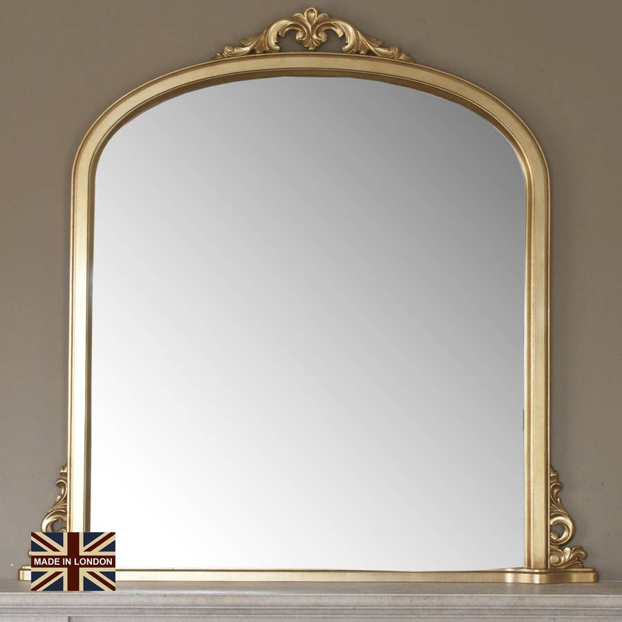 0919931aff6b4 Large Plain Gold Overmantle Mirror