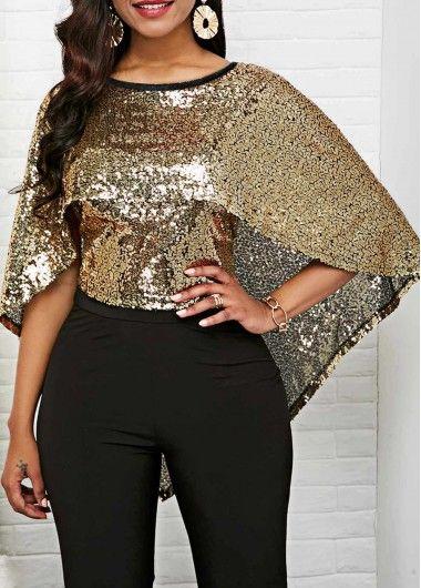 f77eaf50645 Liligal New Year Eve Scoop Back Cape Shoulder Sequin Embellished Blouse