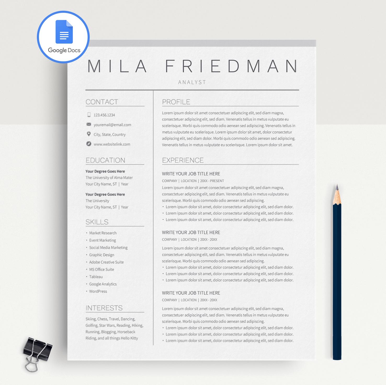 Google Docs Resume Template Cv Template Mila Friedman Miodocs Resume Templates Cv Template Resume Template