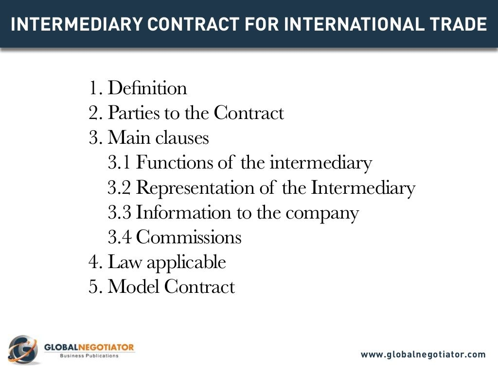 Intermediary Contract For International Trade Contract Template