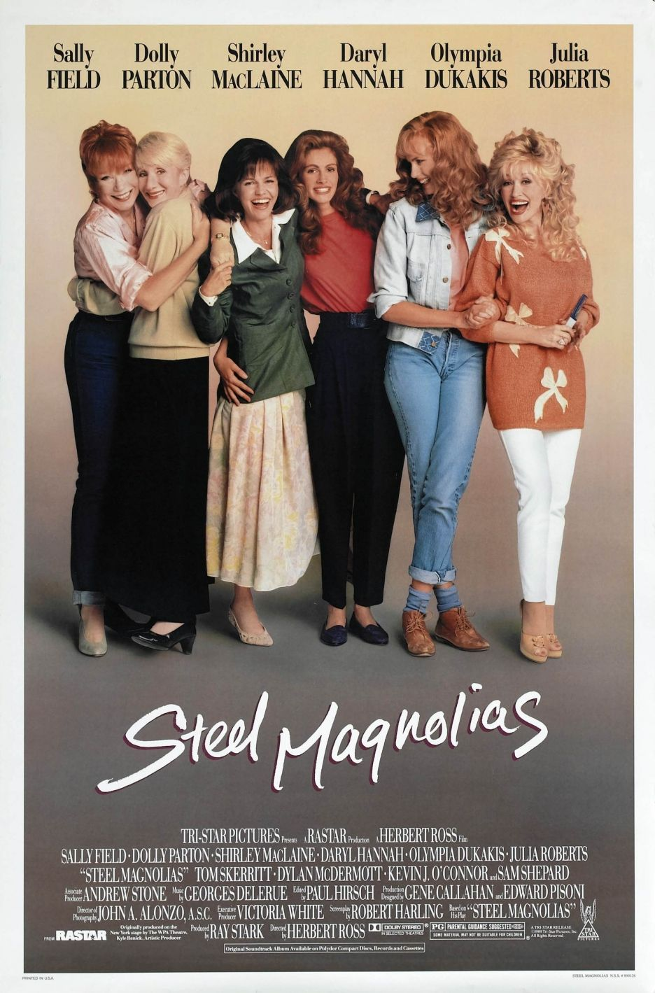 Steel Magnolias classic 80s with full ensemble cast. Julia Roberts, Sally Field via Shirley MacLaine to Dolly Parton