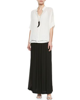 3/4-Sleeve Silk Box Top & Silk Pleated Maxi Skirt, Women\'s  by Eileen Fisher at Neiman Marcus.