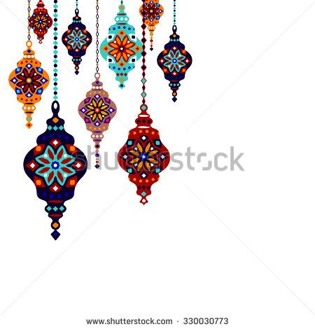Eastern Lantern, Turkish lamp, template design, vector - stock vector