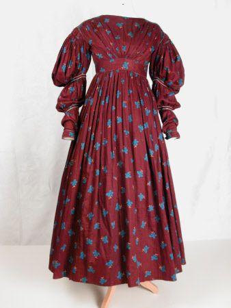 1836, vermutlich Tageskleid, aus Baumwollsatin, USA