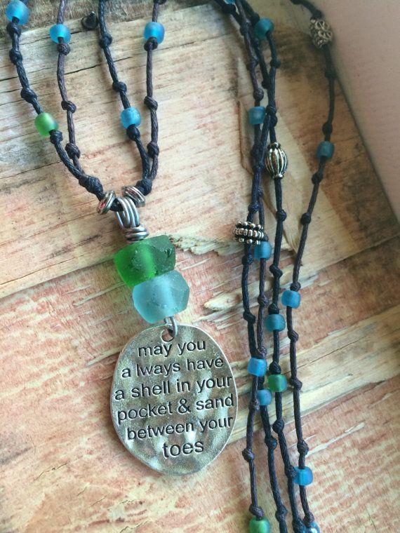 Sea Glass Jewelry Necklace Bright Aqua Blue by SeaGlassSunshine