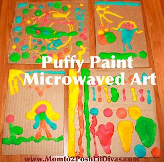 Puffy Paint is so much fun to work with! Pop  painting into the microwave for instant puffed art! A must try for kids!