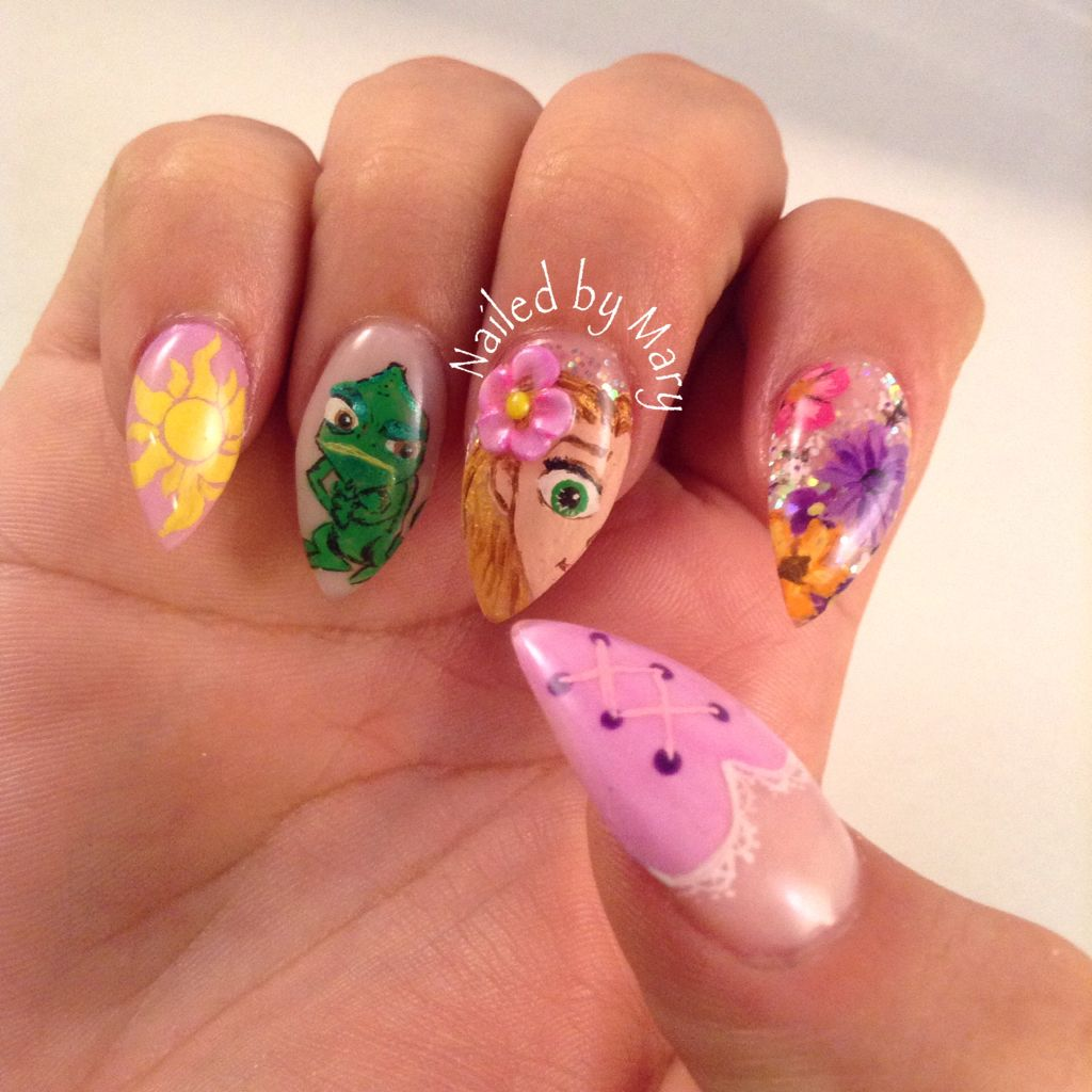 Disney tangled Rapunzel pascal stiletto nails | Nailed by Mary ...