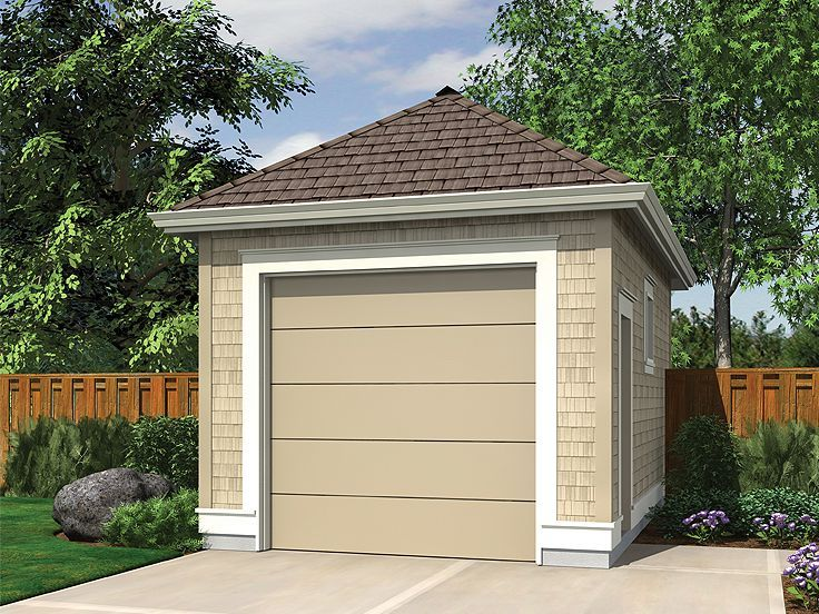 One Car Garage Garage Door Design Garage House Plans Garage Plan