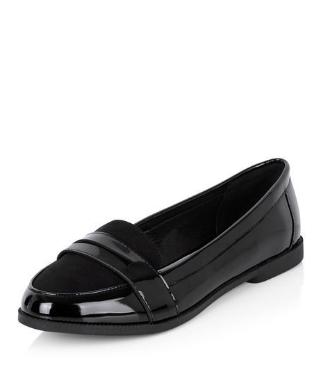 e05a6e1c40c Wide Fit Black Comfort Patent Contrast Loafers