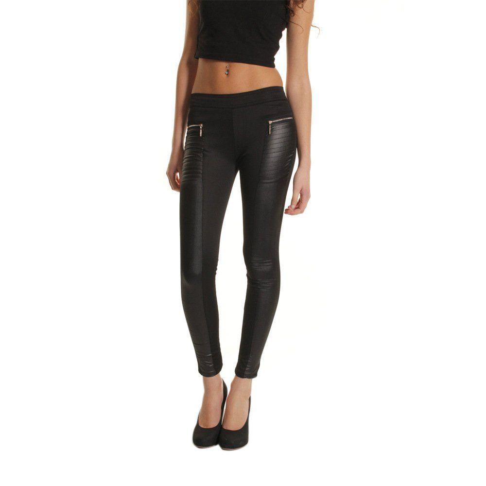 5a69ea3892554 ... Stitching Stretchy Skinny Leggings Pants Legwear Tights, Full Length  Plain High Waisted Leggings Black. Kufv Women's Imitation Leather Zipper ...