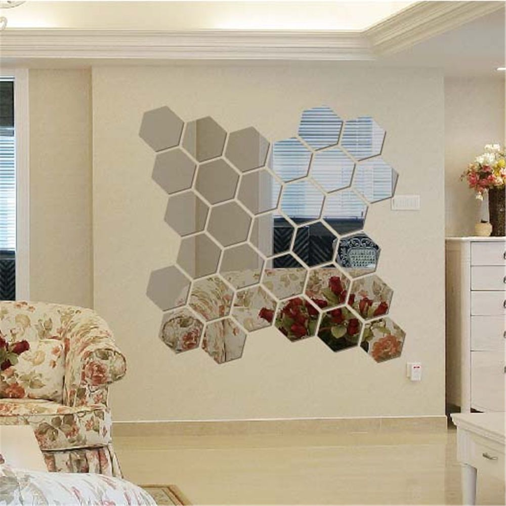 3D Mirror Tiles Mosaic Wall Stickers Self Adhesive Bedroom Decals Home Decor 12X