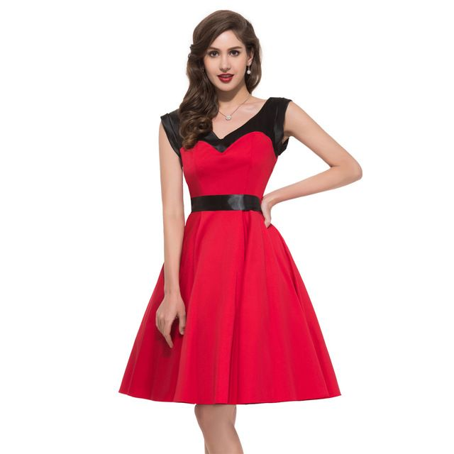 Winter Women Party Swing Dresses Plus Size Knee Length Red Casual