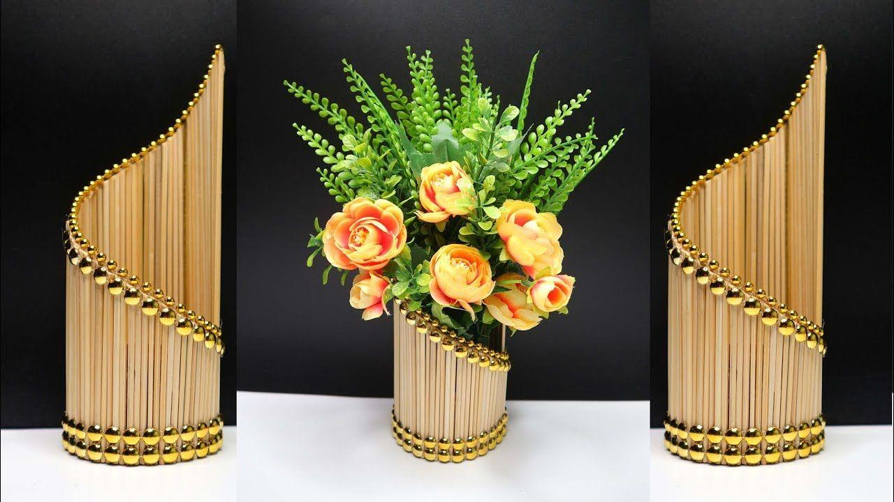 Ide Kreatif Vas Bunga Cantik Dari Tusuk Sate Manualidades