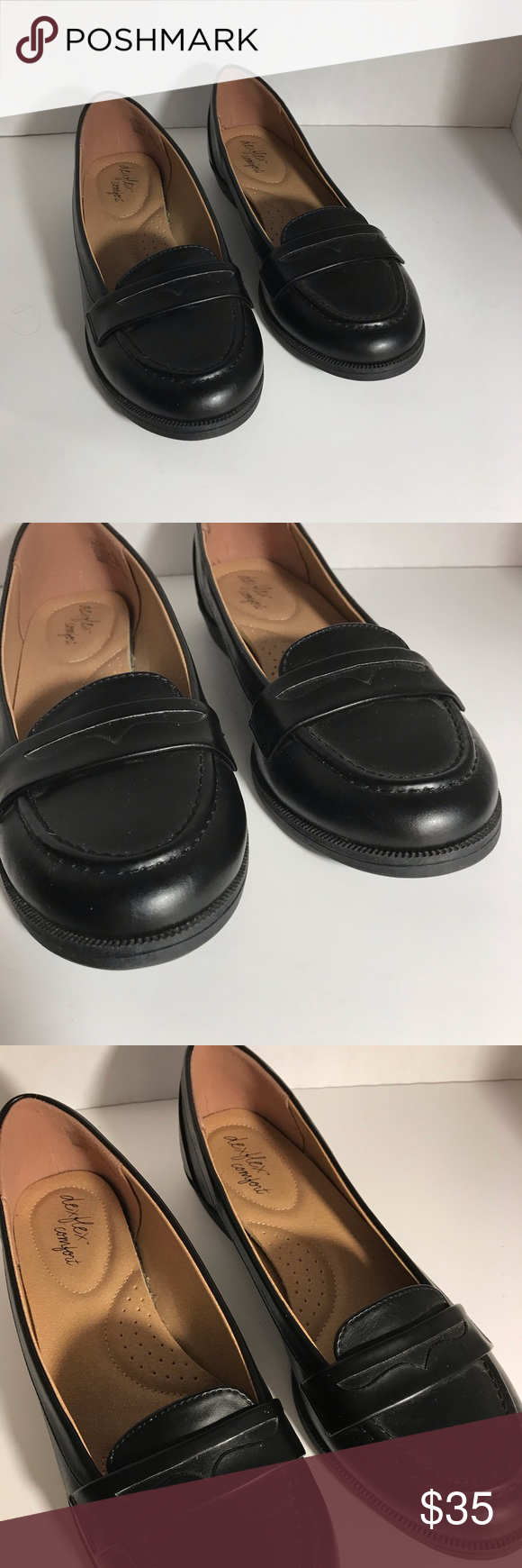 Dexflex Comfort Black Leather Loafers Size 9 In 2020 Black Leather Loafers Leather Loafers Black Leather