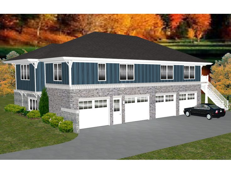 049G 0005: 4 Car Garage Apartment Plan; 2 Bedrooms, 1.5 Baths Good Ideas