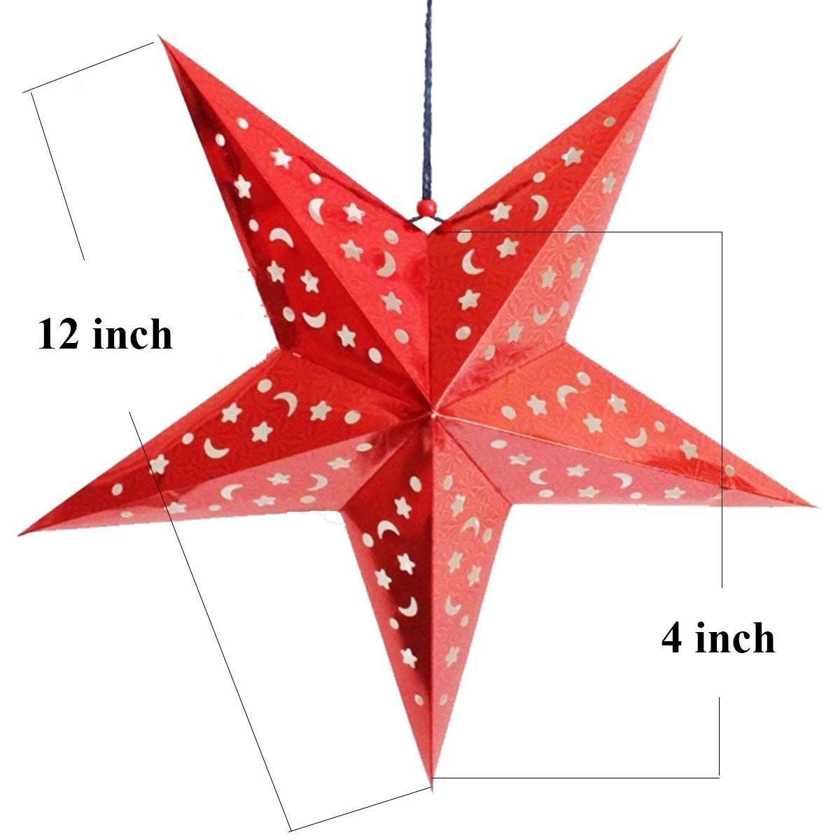 Auony Paper Star Lantern Lampshade 6 Pack 3d Paper Star Pentagram Lampshade For Christmas Xmas We Paper Star Lanterns 3d Paper Star Christmas Decorations Cheap
