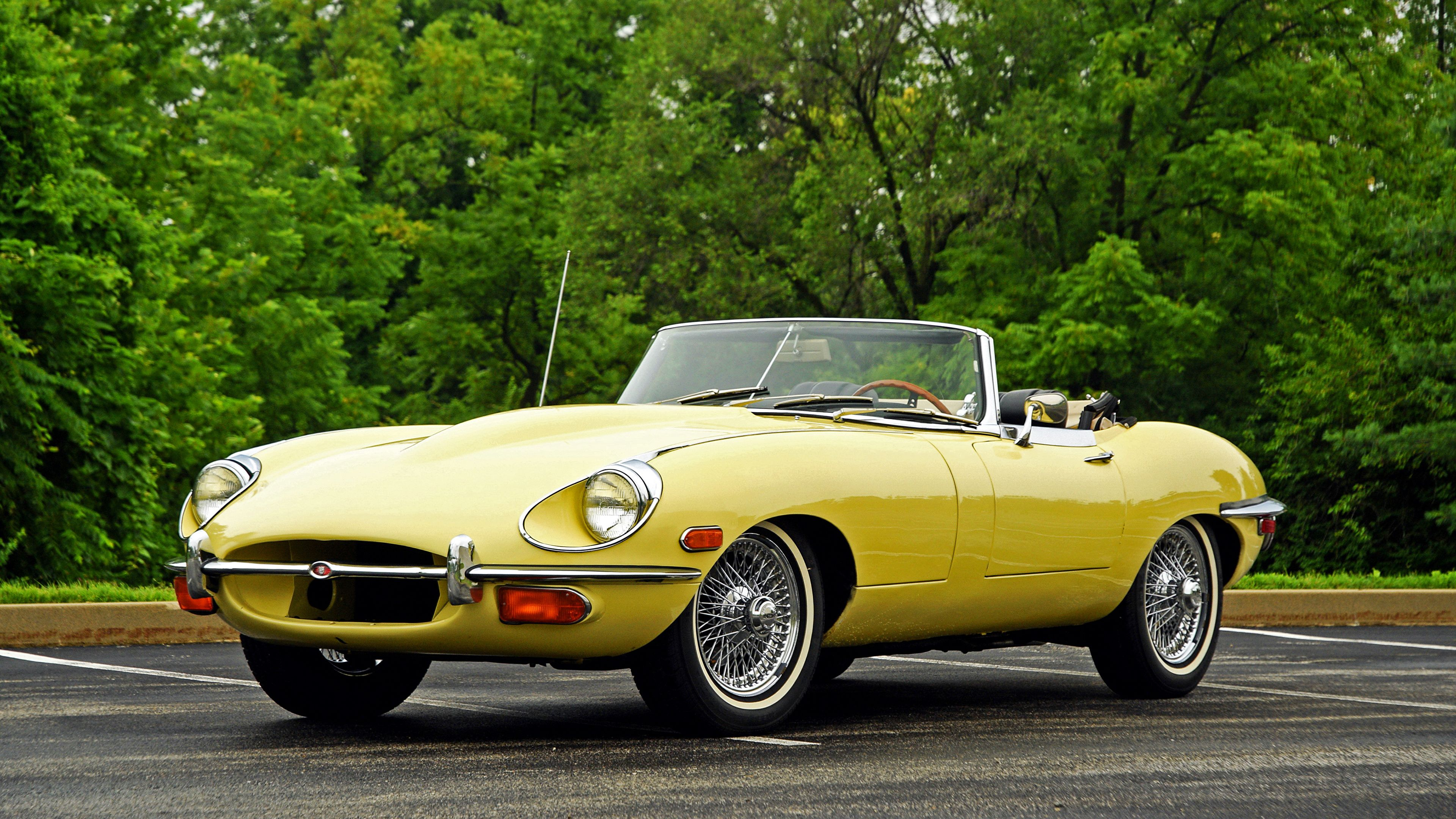3840x2160 jaguar r tro style 1968 e type jaune cabriolet ancien voitures en jaune je pr f re. Black Bedroom Furniture Sets. Home Design Ideas
