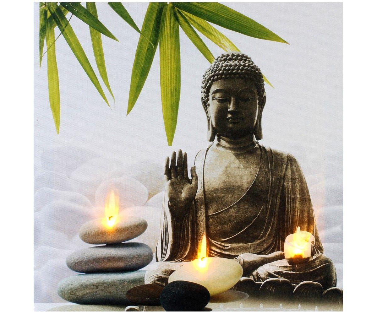 tableau toile cadre led zen statue bouddha bougie galet bambou blanc 6300 recettes bien vivre. Black Bedroom Furniture Sets. Home Design Ideas