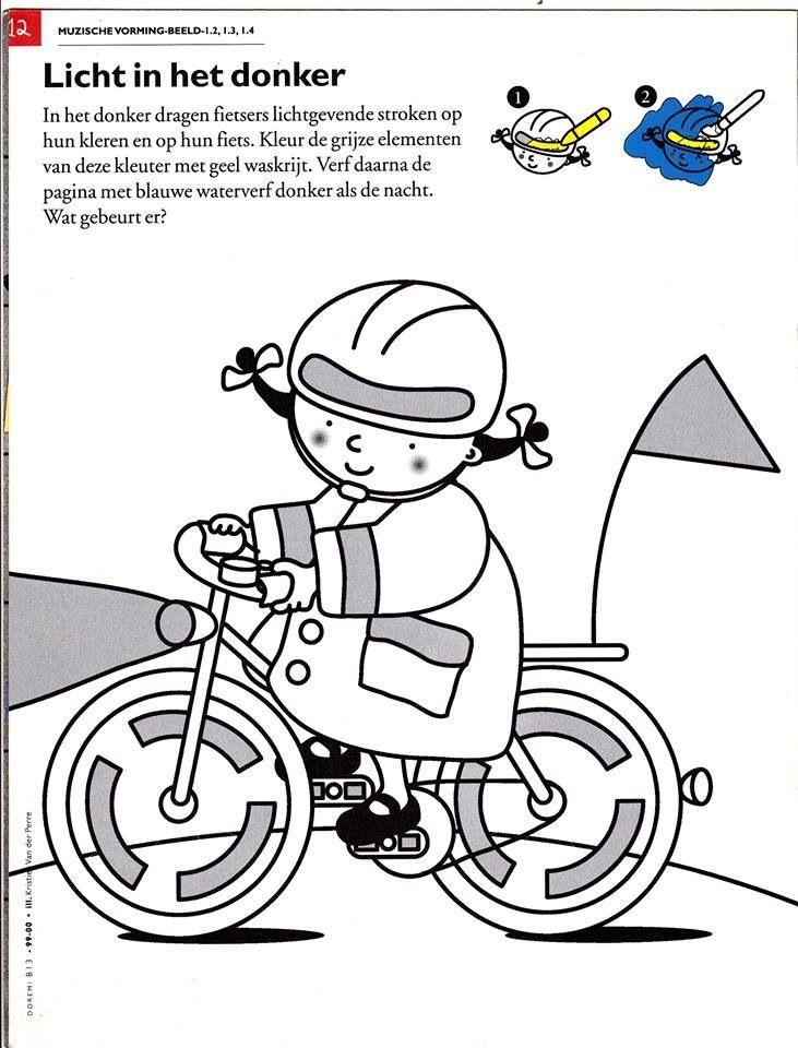 kleurplaat fluo vervoer thema knutselen thema verkeer