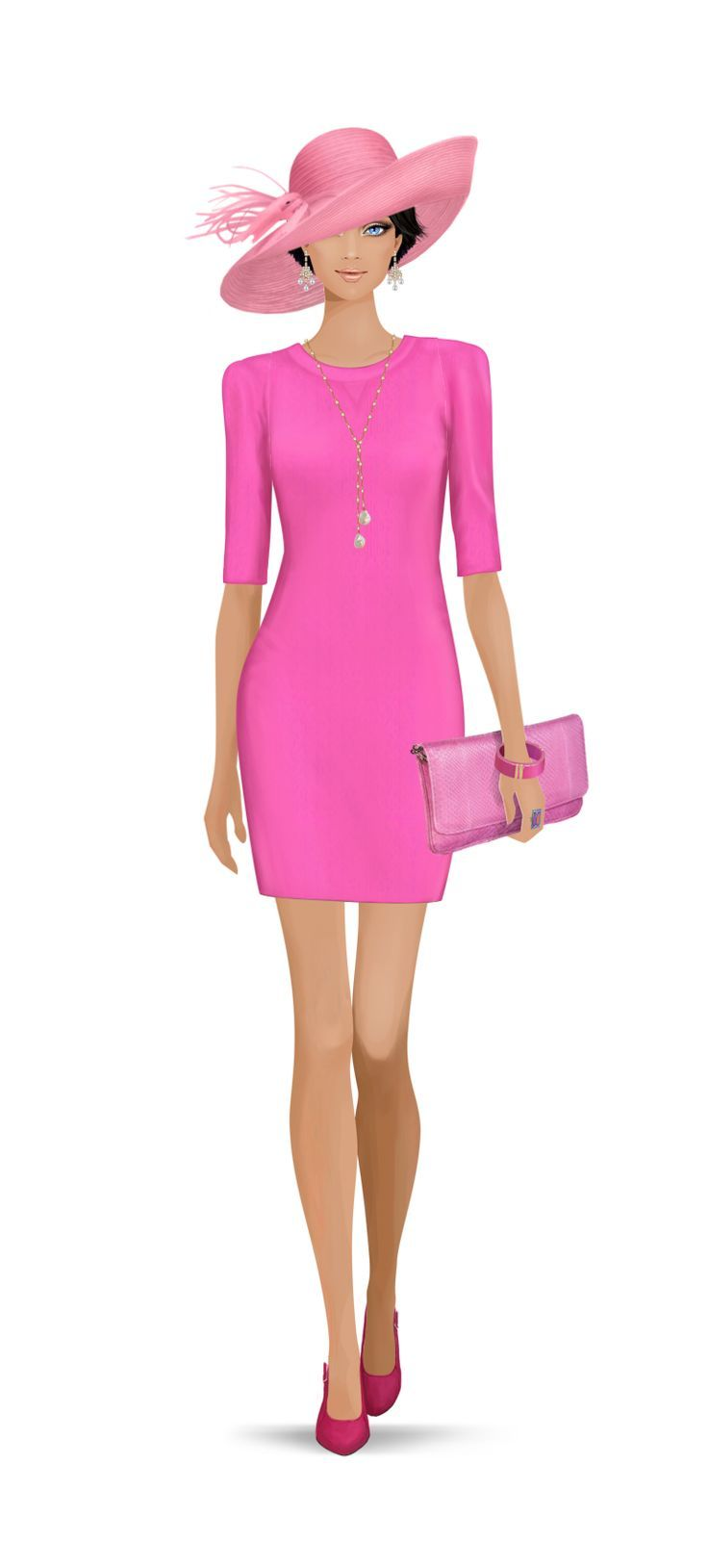 Plain, almost Barbie pink, tight fitted dress with three quarter ...