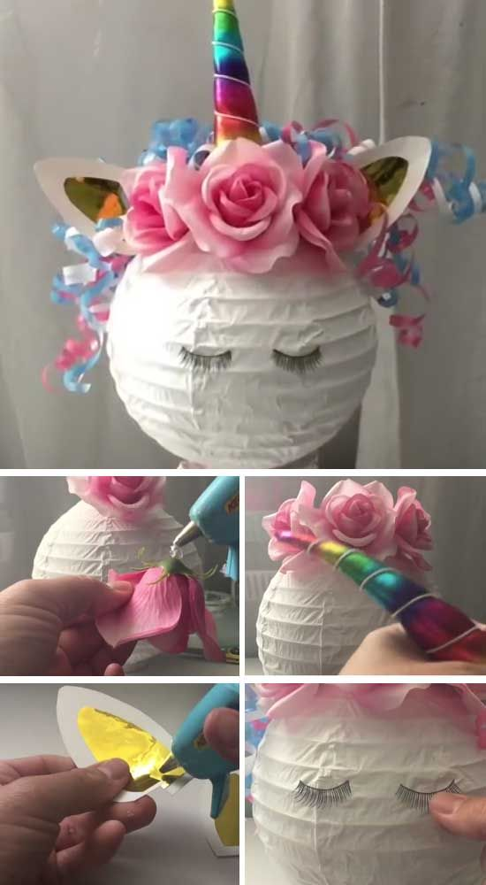 Diy Unicorn Paper Lanterns For Baby Showers With Images