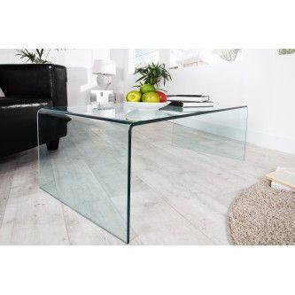 Table basse en verre transparent Lexy 110 cm