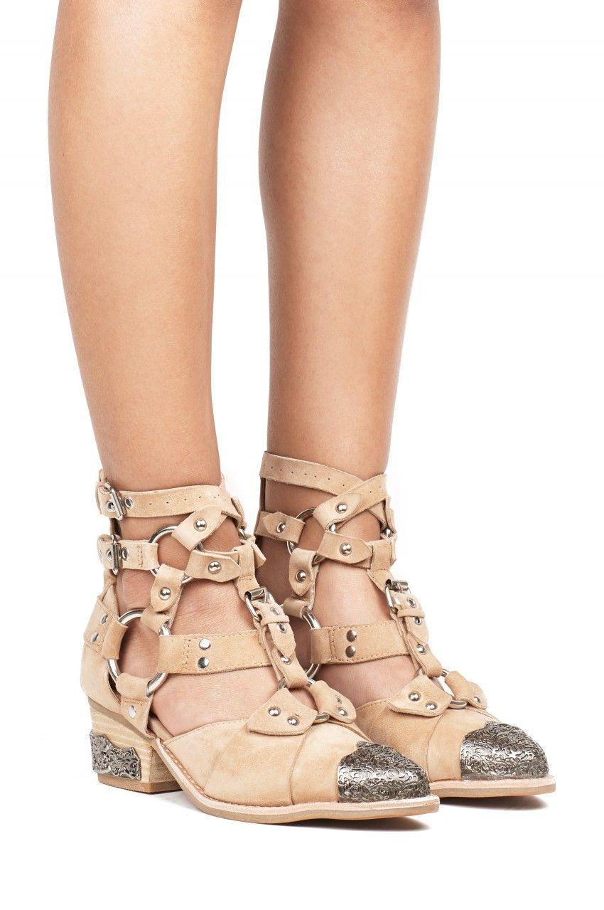 5ac0d64bba6 Jeffrey Campbell Shoes TEMEKU Booties in Natural Suede Silver