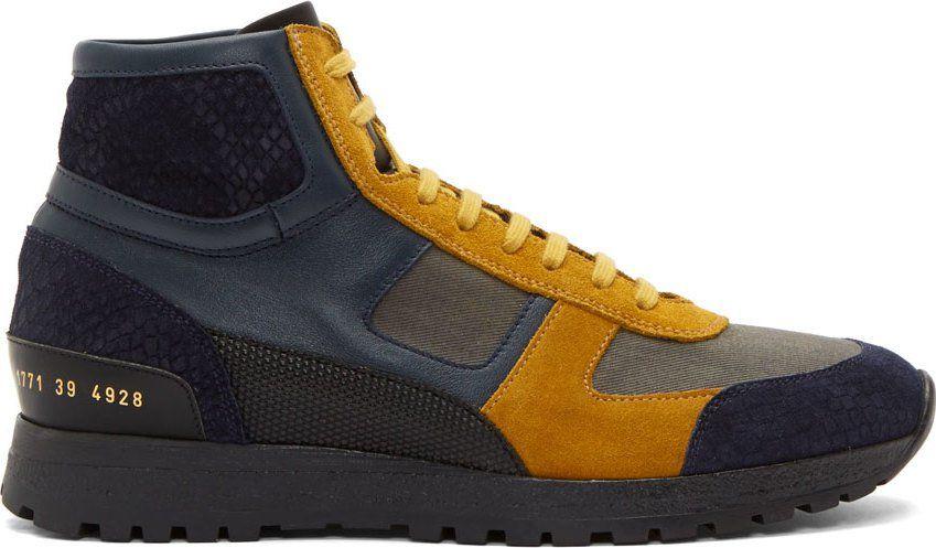 san francisco 60af4 c5b27 Robert Geller Navy   Gold Suede Colorblock High-Top Sneakers