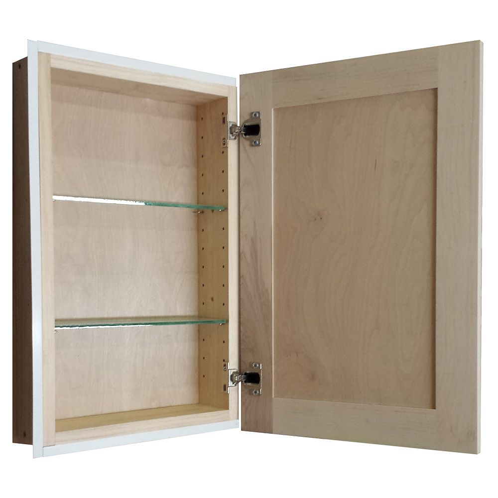 Recessed 22 Inch Natural Finish In The Wall Frameless Medicine Cabinet    Overstock™ Shopping   Big Discounts On Bath Cabinets U0026 Storage
