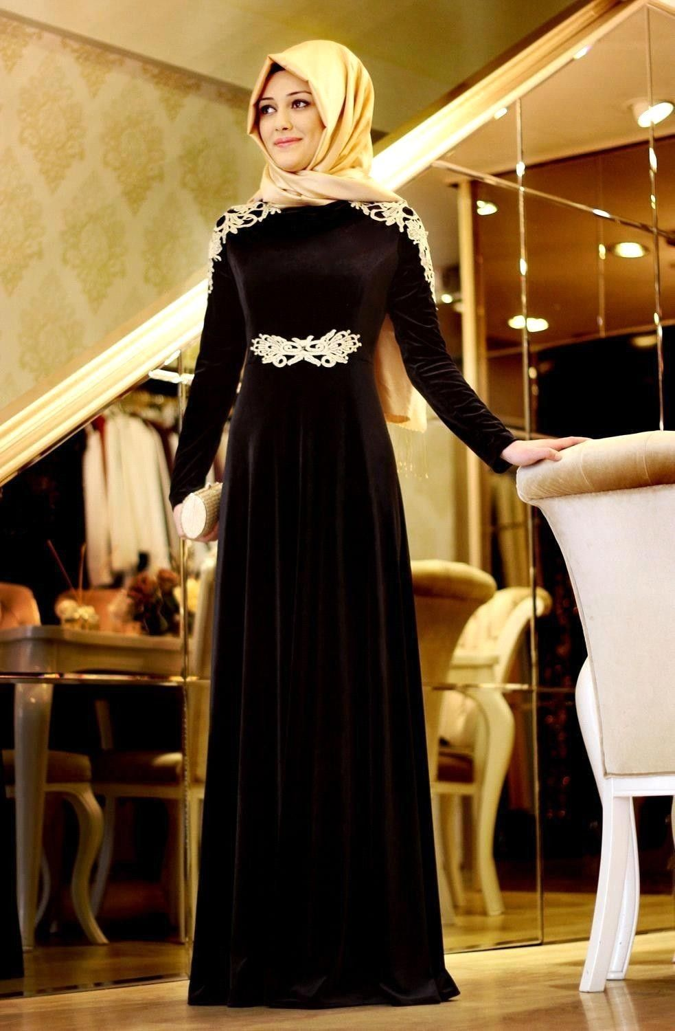 Black Hijab Long Sleeve Muslim Evening Dress with Gold Appliques Velvet Evening  Gown abaya in dubai 86a519fe3e45